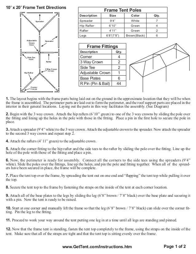 10 x 20 frame tent installation instructions