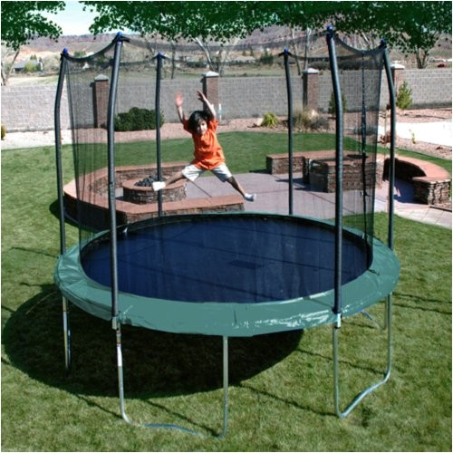 7557687 skywalker trampolines 12 feet round trampoline and enclosure with spring pad