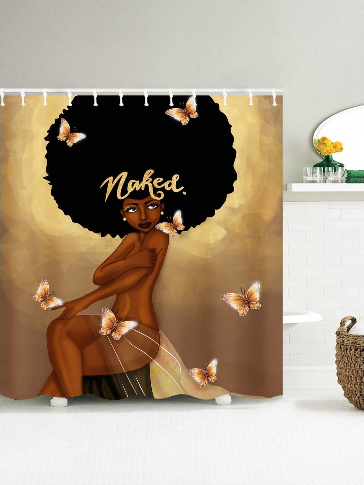 afro hair fashion girl have a bath shower curtain product2020196