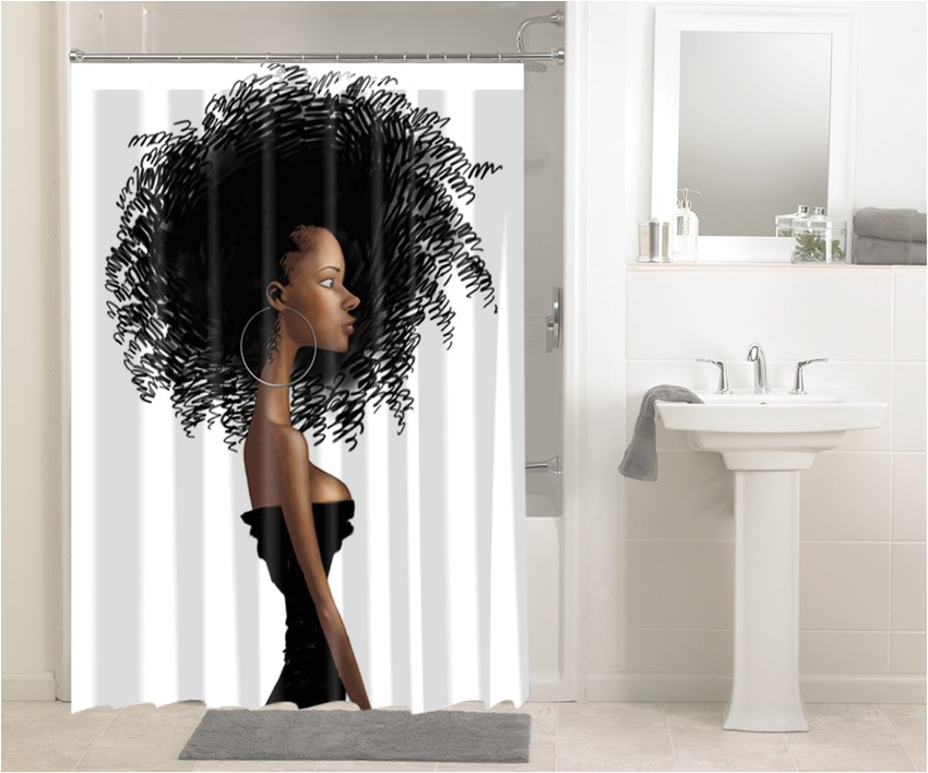 afrocentric afro hair design african 646 shower curtain waterproof bathroom decor