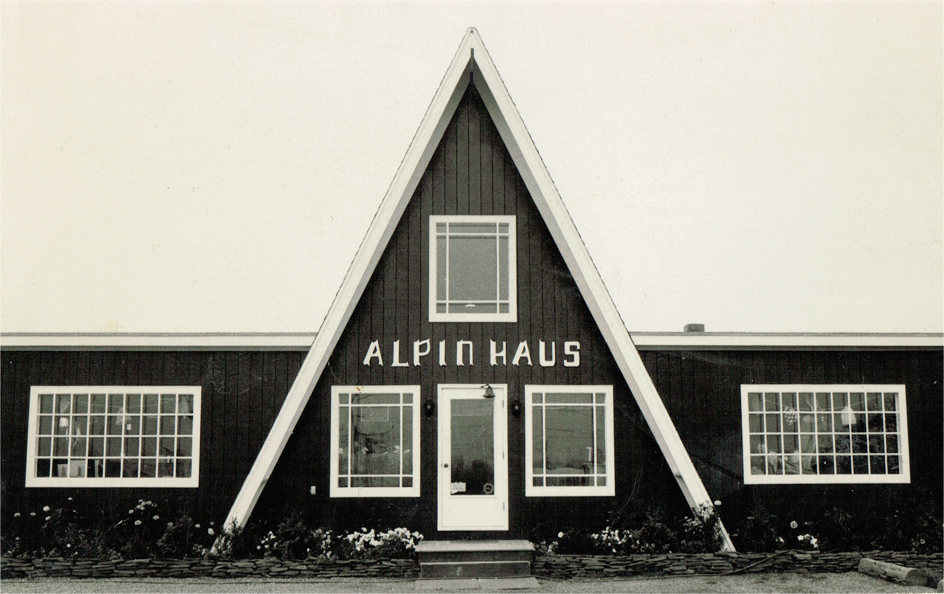 vintage shot of alpin haus store with signature a frame