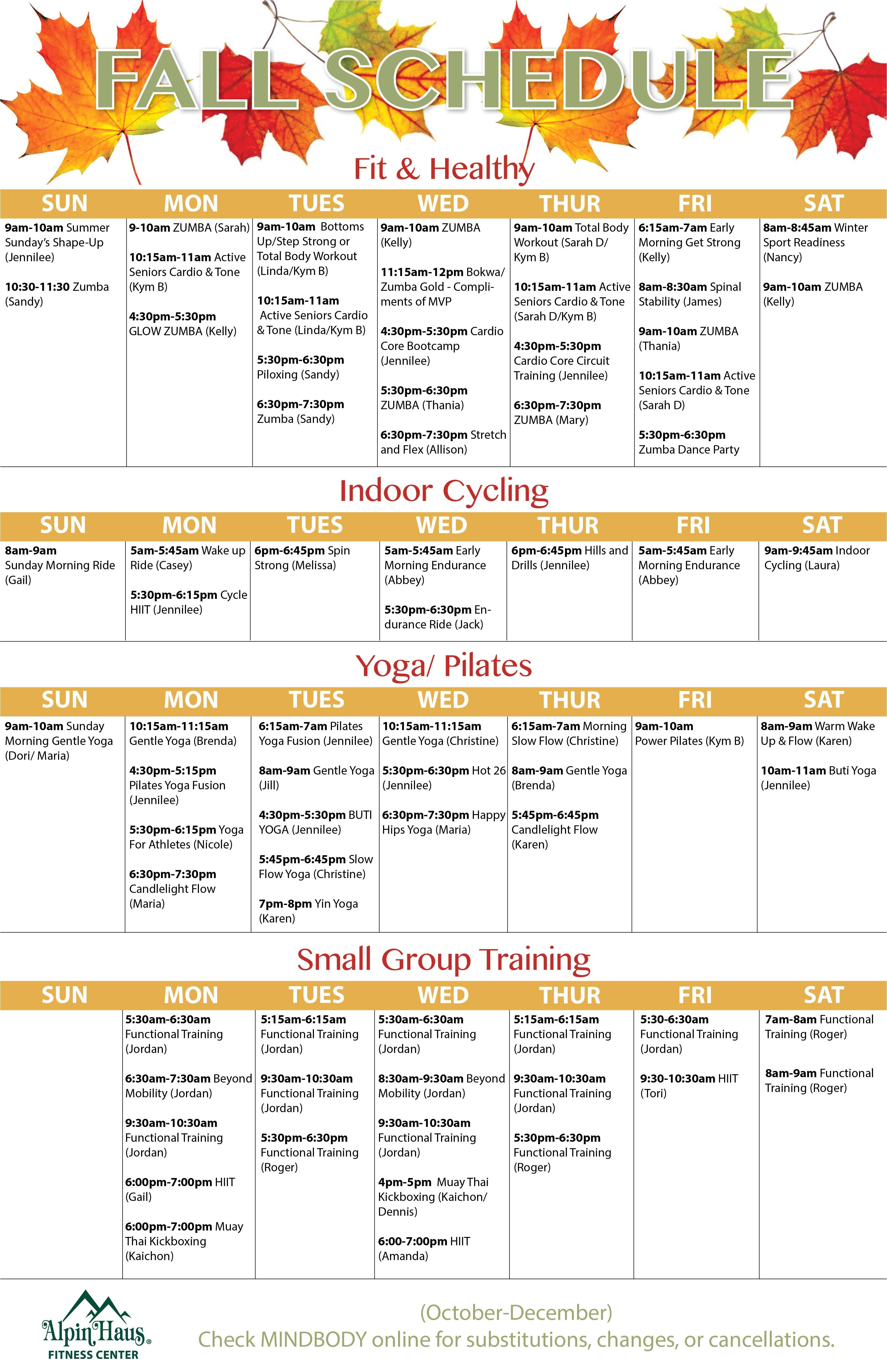 fall schedule fall schedule alpin haus fitness center