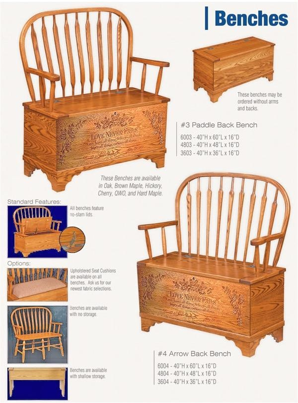 love never fails hope chest hall bench feather or arrow back ohio amish oak furniture deep 7102713 detail