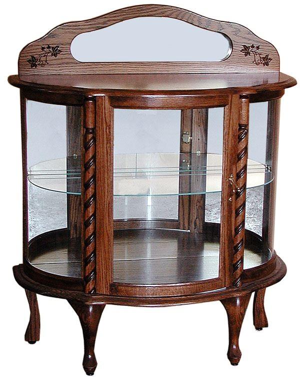 curio cabinet short oak ohio amish oak furniture 444 1446151 detail
