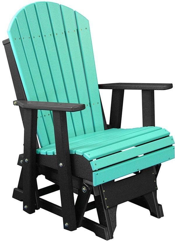 poly glider ohio amish outdoor aruba blue black adirondack furniture two foot glider adirondack back detail