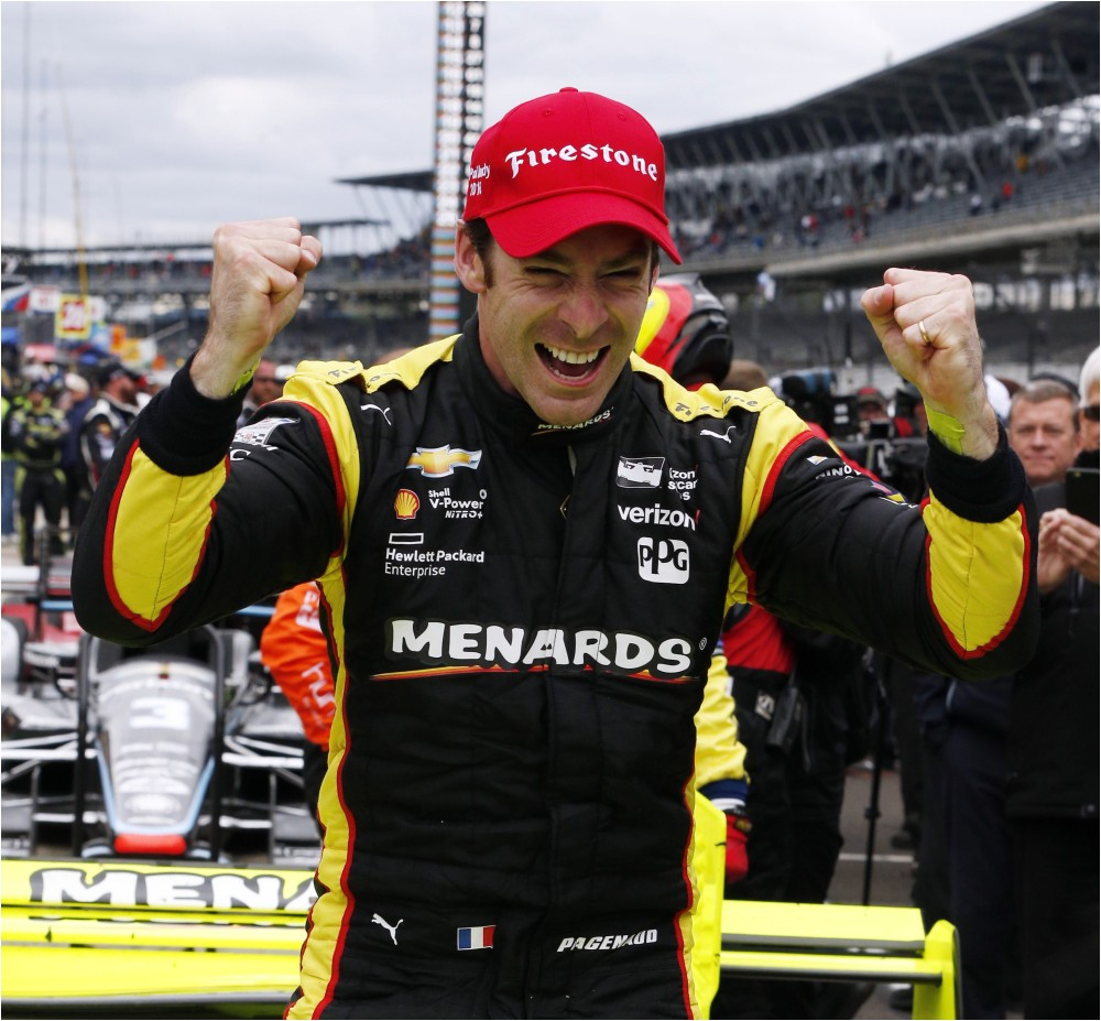 simon pagenaud celebrates after winning the angie s list grand prix of indianapolis saturday brian