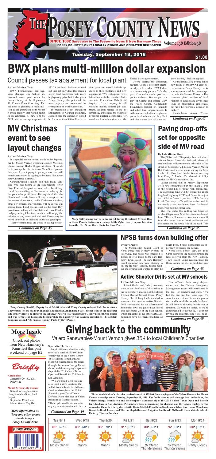 september 18 2018 the posey county news by the posey county news issuu
