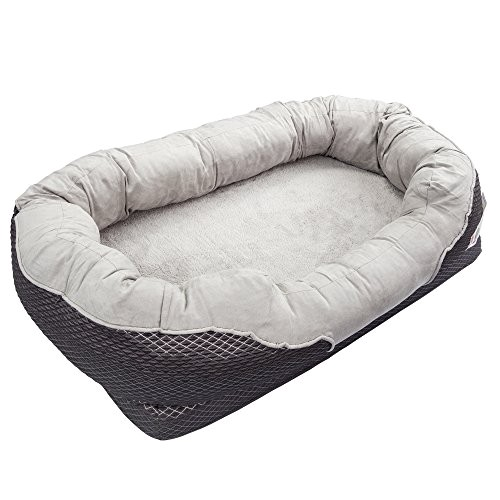 barksbar gray orthopedic dog bed snuggly sleeper with grooved orthopedic foam extra comfy cotton padded rim cushion and nonslip bottom