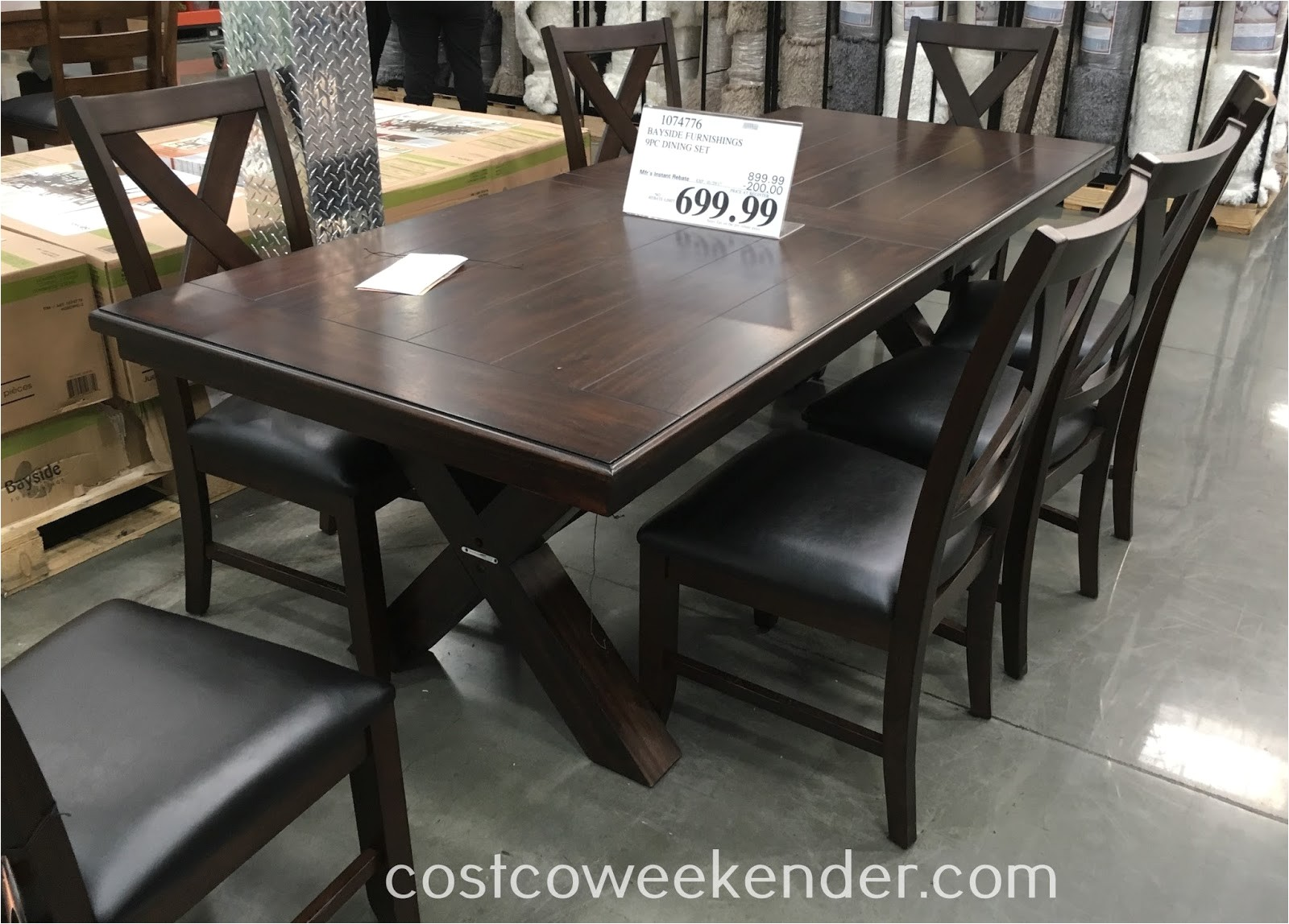 bayside furnishings 9 piece dining set costco 1074776