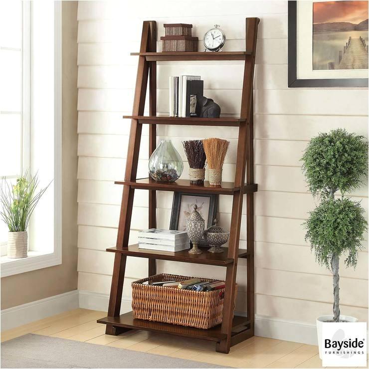 Bayside Furnishings Ladder Bookcase Bayside Furnishings Ladder Bookcase with 5 Fixed Shelves