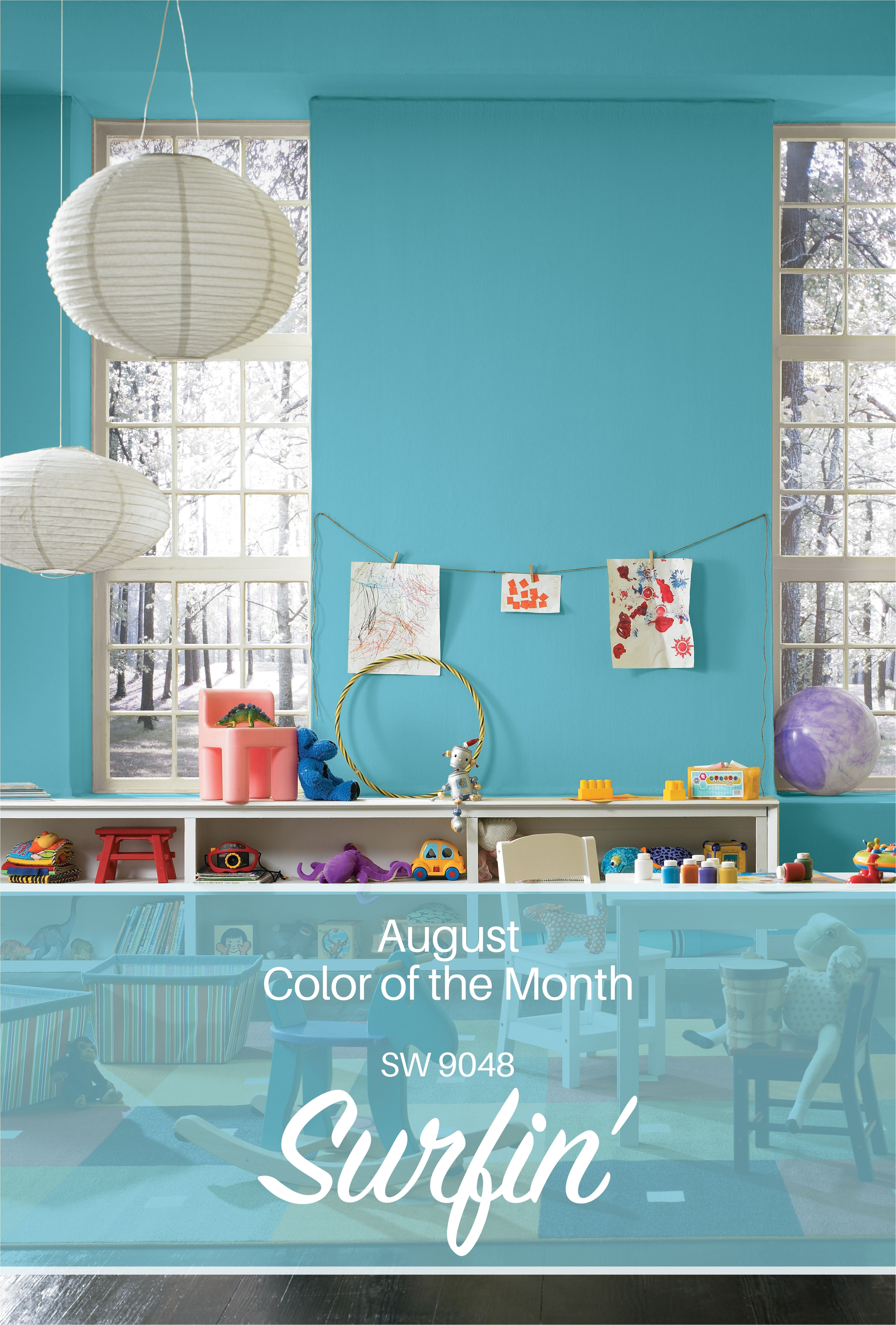 sherwin williams august color of the month surfin sw 9048