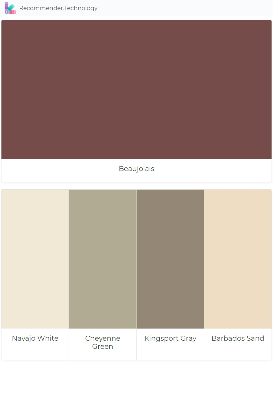 beaujolais navajo white cheyenne green kingsport gray barbados sand paint color palettes