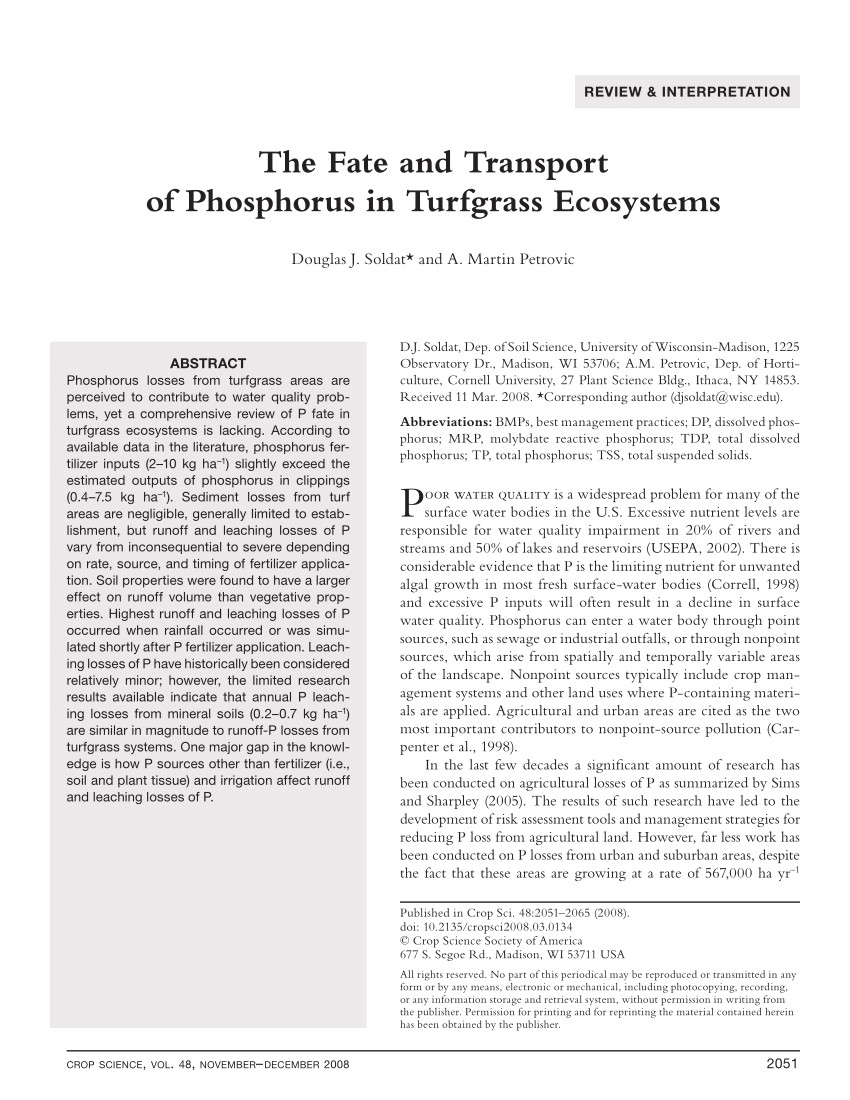 pdf the fate and transport of phosphorus in turfgrass ecosystems