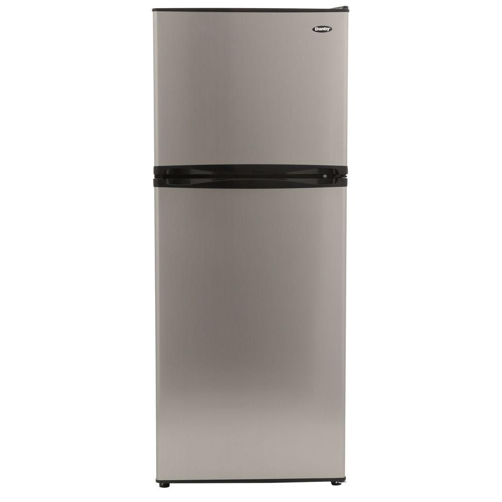 top freezer refrigerator in stainless look counter depth