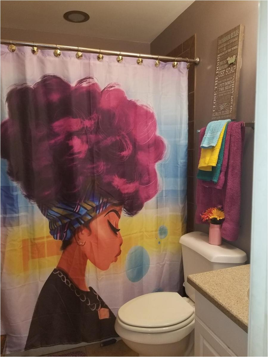 afro african black girl magic shower curtain