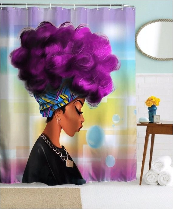 afro black girl magic shower curtain