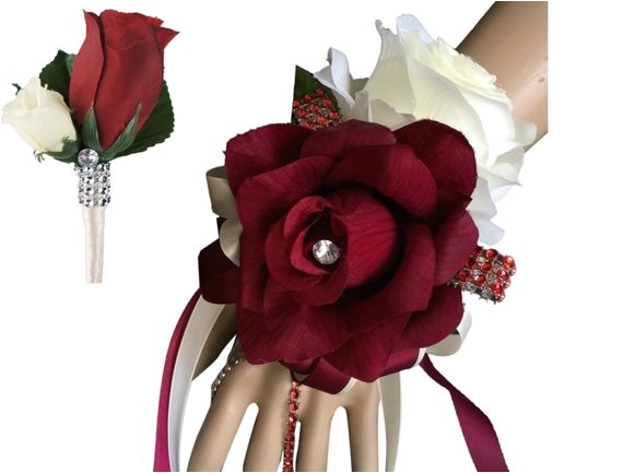2pc set burgundy and ivory wrist corsage