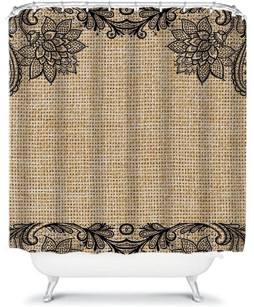 Burlap Shower Curtain With Lace Floral And Black By