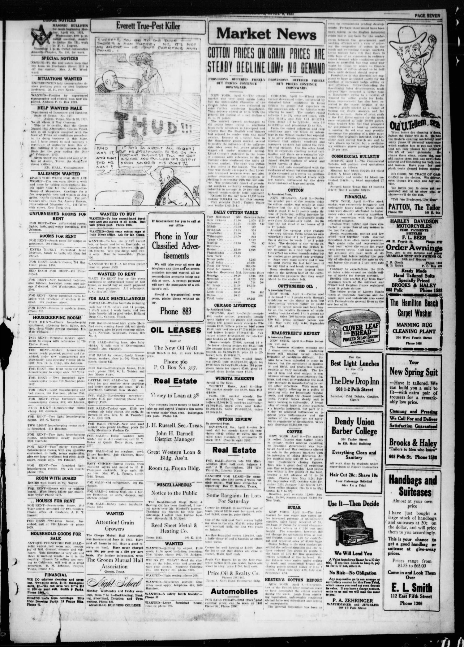 amarillo daily news amarillo tex vol 12 no 81 ed 1 saturday april 9 1921 page 7 of 8 the portal to texas history