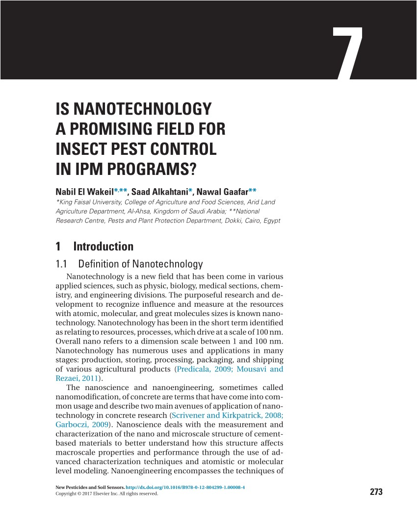 pdf is nanotechnology a promising field for insect pest control in ipm programs