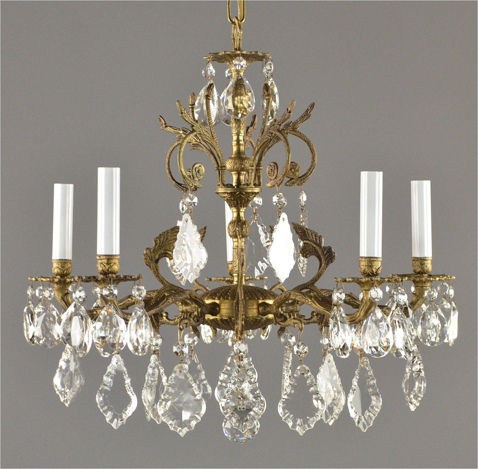 spanish brass crystal chandelier c1950 vintage antique gold french
