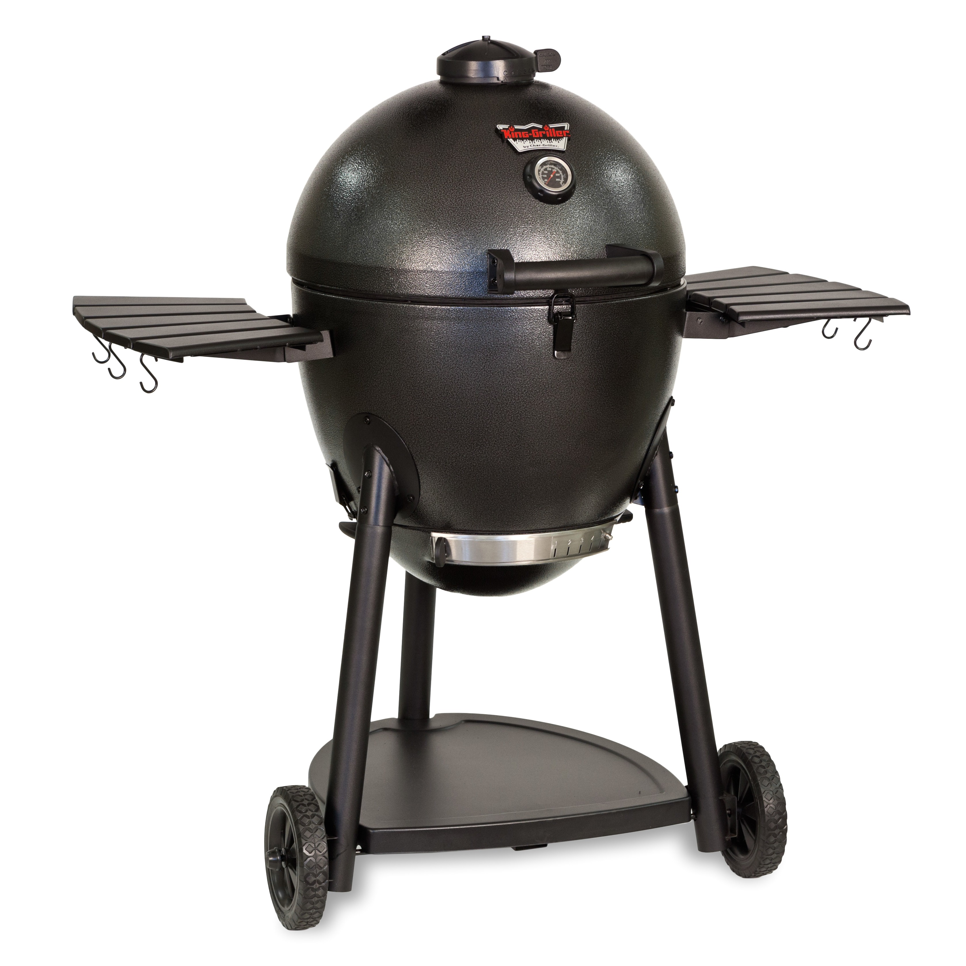 char griller 45 2 akorn kamado charcoal grill with metal side shelves efc1039