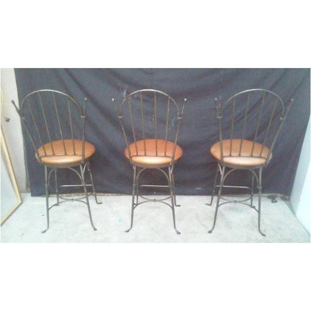 Charleston forge Iron Bar Stools Charleston forge Shaker Arch Iron Bar Stools Chairish