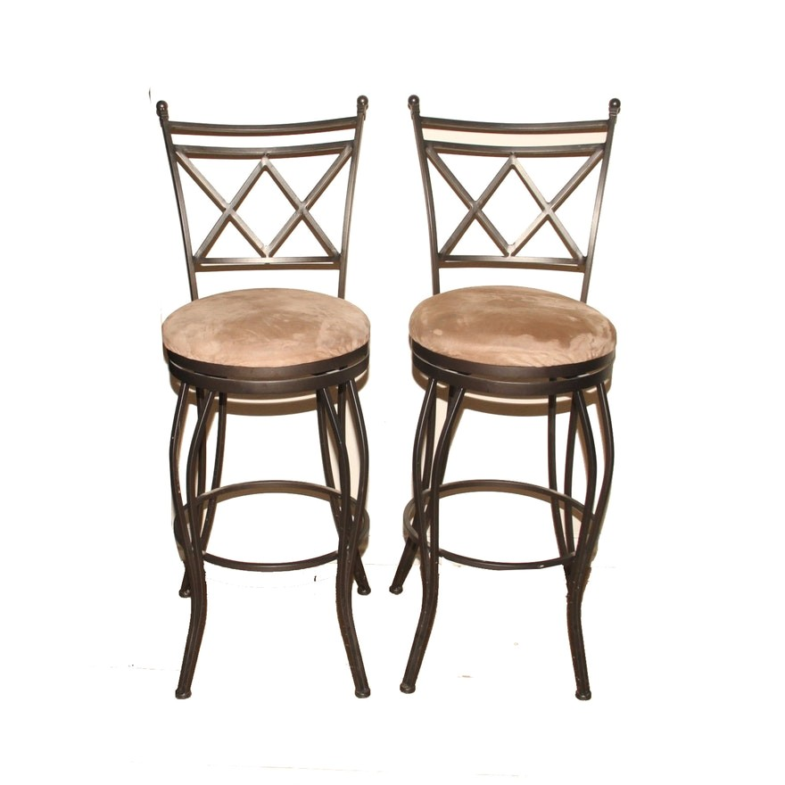 3553154 cheyenne home furnishings pair of wrought iron bar stools