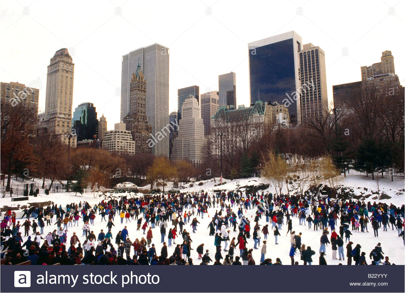 stock photo tourists skating in ice rink wollman skating rink central park manhattan 18505535