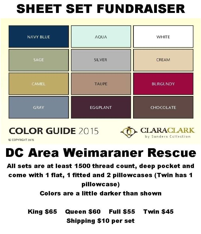 clara clark sheet set fundraiser dc area weimaraner rescue