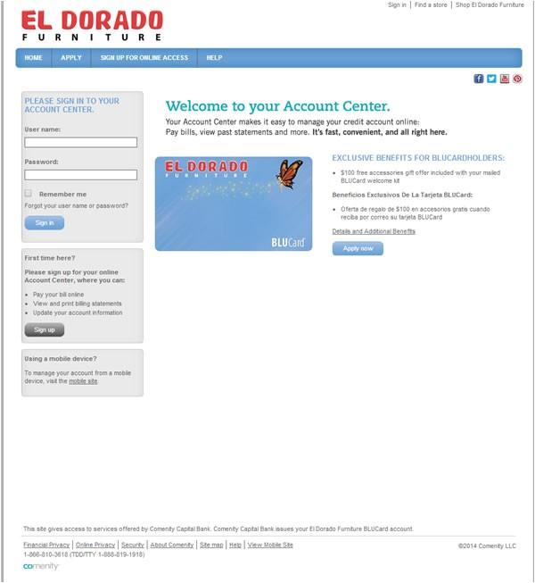 Comenity Bank El Dorado Comenity Net Eldoradofurniture Eldorado Furniture Card