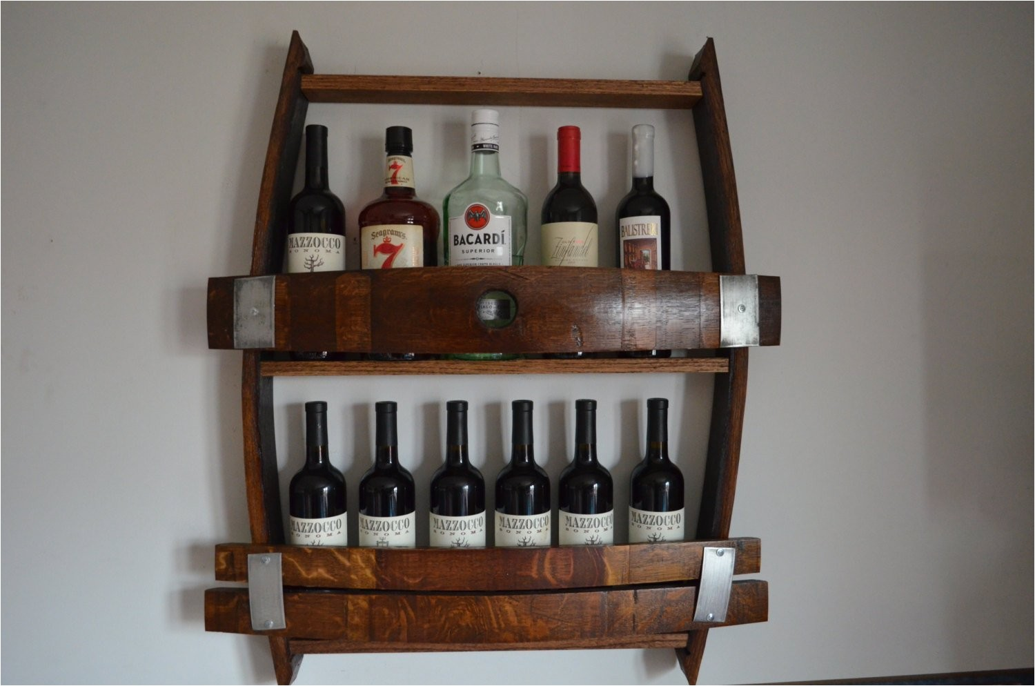 wine barrel wine rack with bung hole