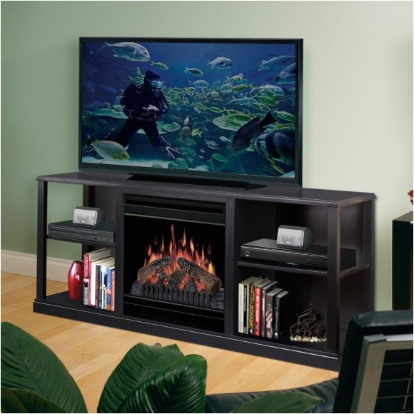 alluring black tv stand with fireplace for different style furniture