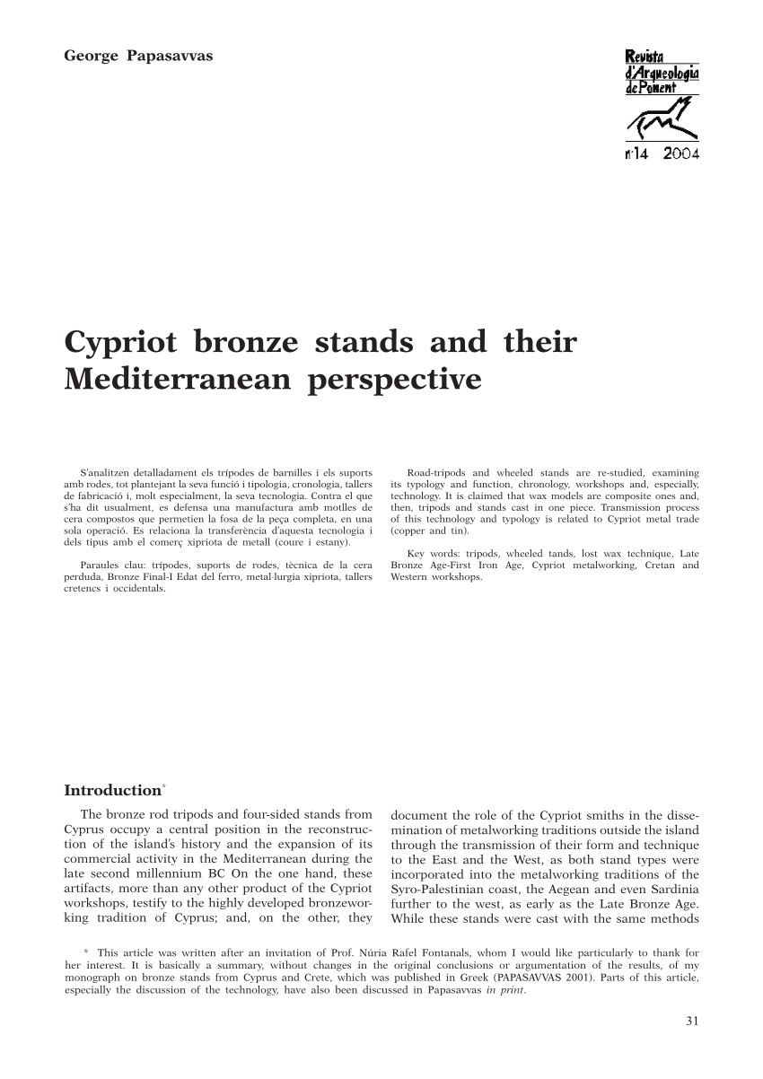 pdf cypriot bronze stands and their mediterranean perspective
