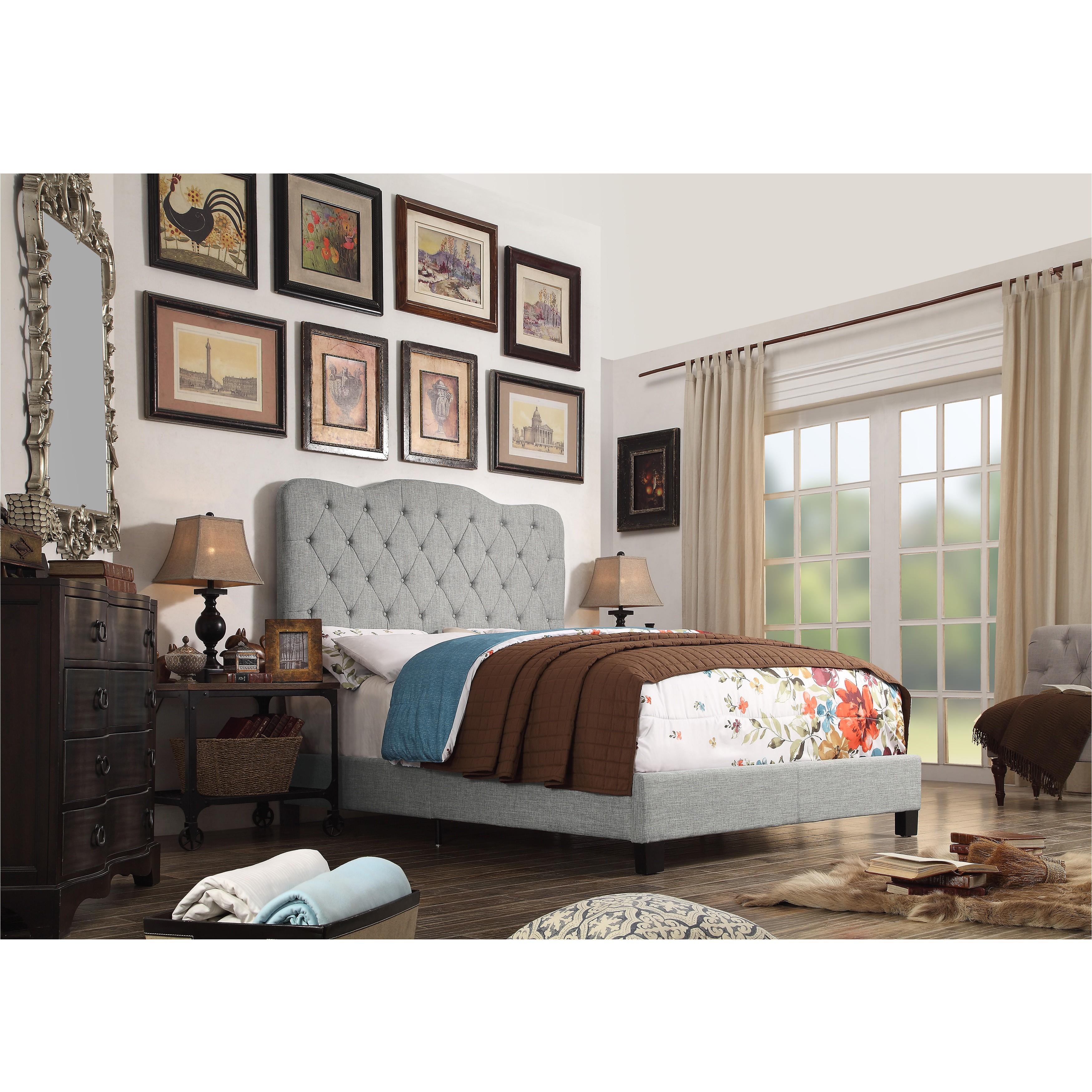 alton furniture andrea upholstered panel bed platform bed multiple colors multiple sizes walmart com
