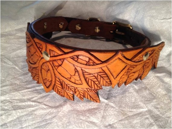 elven hand tooled leather dog collar