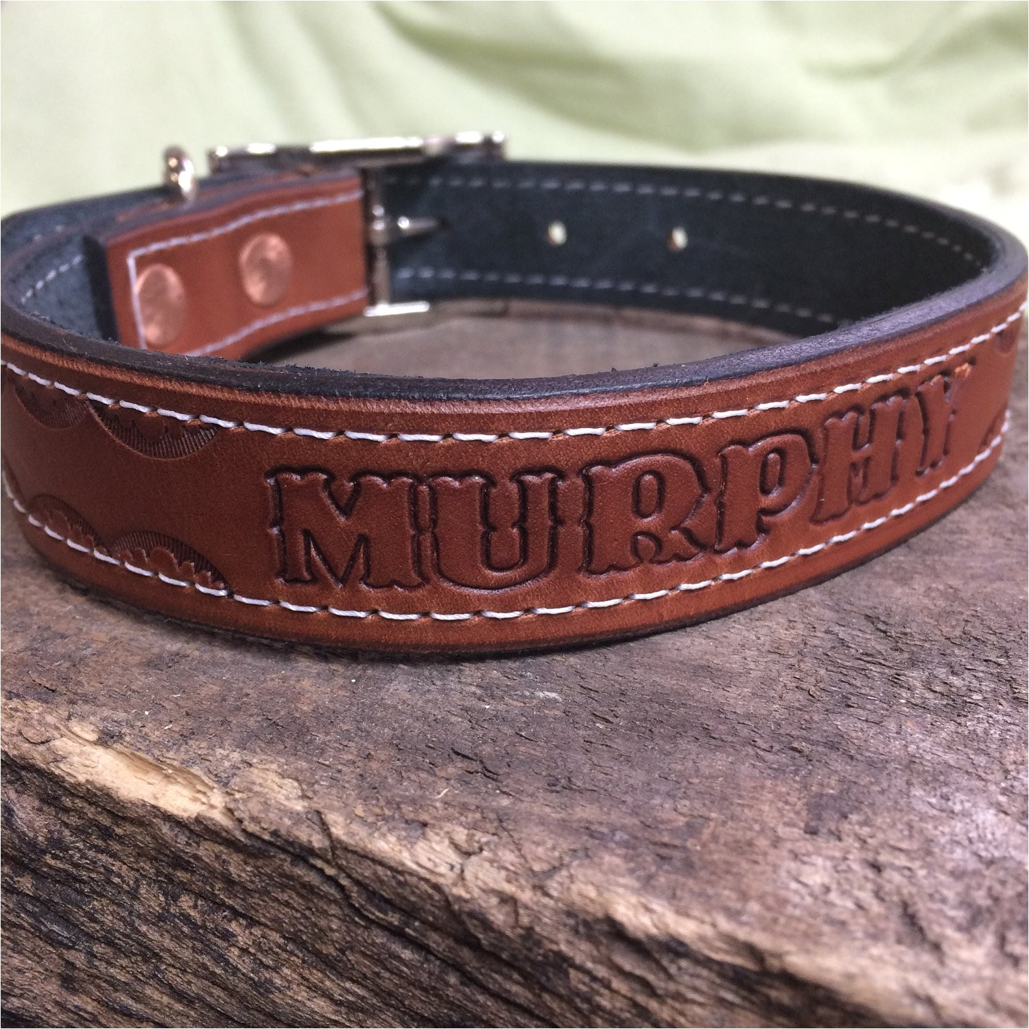 leather dog collar hand tooled