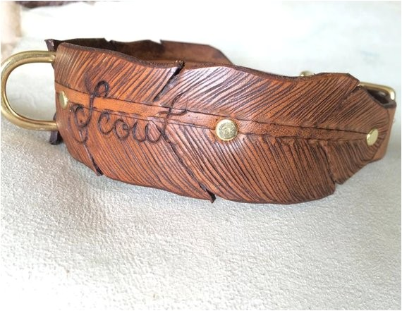 wide feather hand tooled leather dog