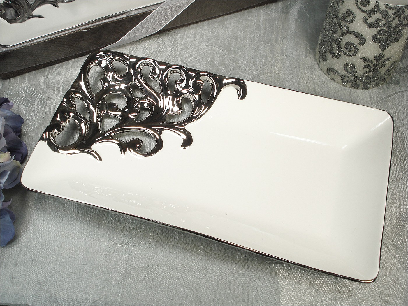 r900 dlusso designs silver white collection rectangular platter sold out until approx 10 15