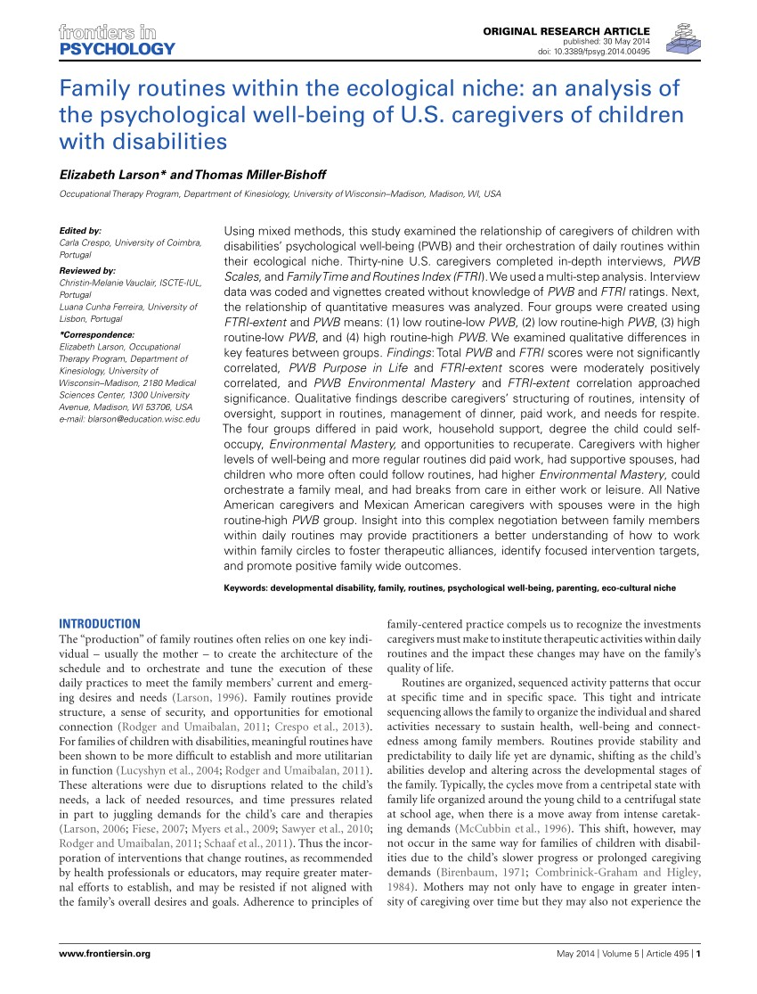 pdf family routines within the ecological niche an analysis of the psychological well being of u s caregivers of children with disabilities