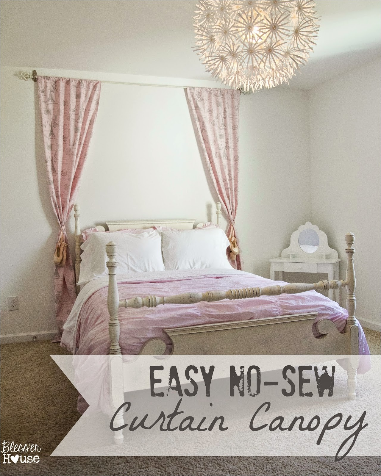 Diy Canopy Bed without Drilling Easy No Sew Curtain Canopy Little Girl Bedroom Progress Bless Er