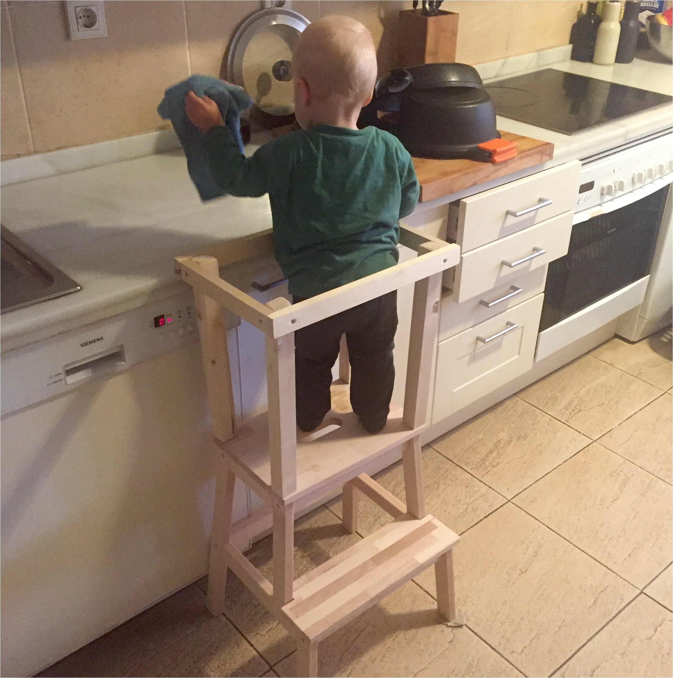 Diy toddler Step Stool with Rails Learning tower Ikea Little Helper Stool Sd toddler with