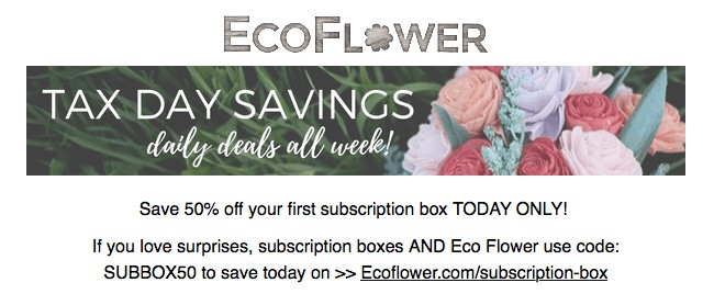 Eco Flower Coupon Code Eco Flower 50 Off Subscription Box Coupon Code