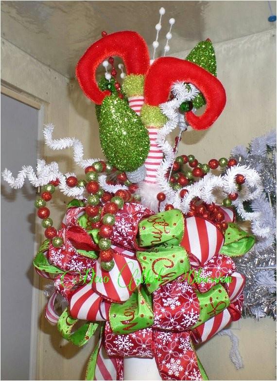 elf legs christmas tree topper ready to