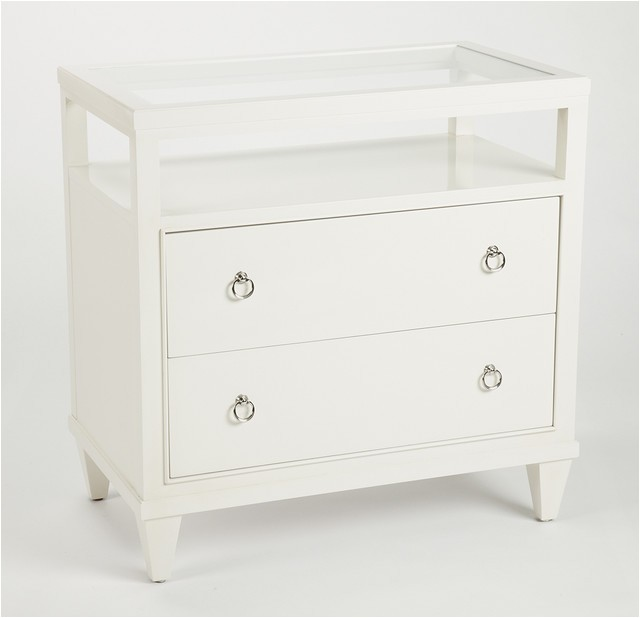 Ethan Allen White Bedside Table Heston Glass top Night Table Nightstands and Bedside