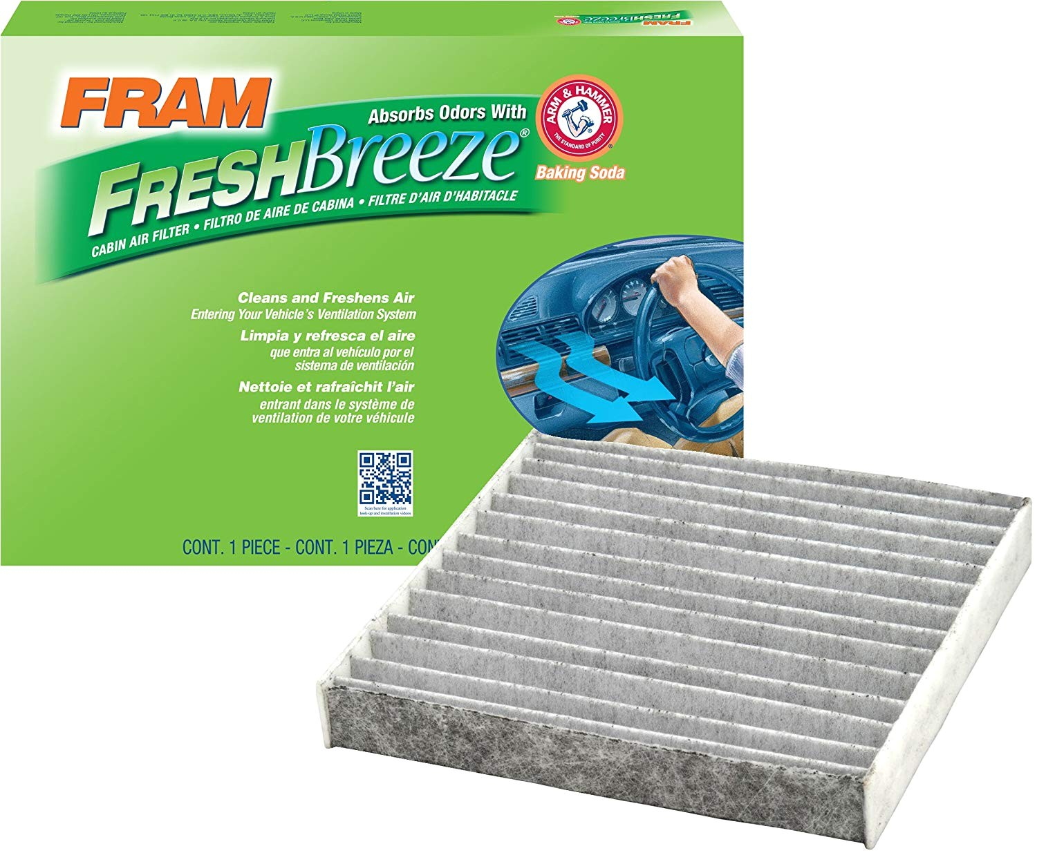 amazon com fram cf10285 fresh breeze cabin air filter with arm hammer automotive