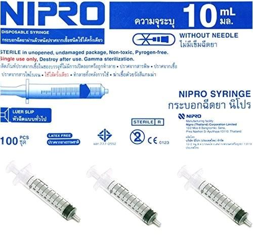 nipro 10ml10cc syringe without needle luer slip 100 box
