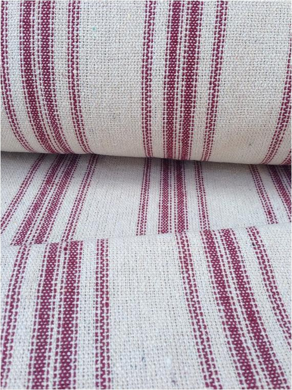 grain sack fabric red stripes vintage