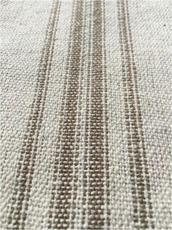 grain sack fabric tan stripes vintage