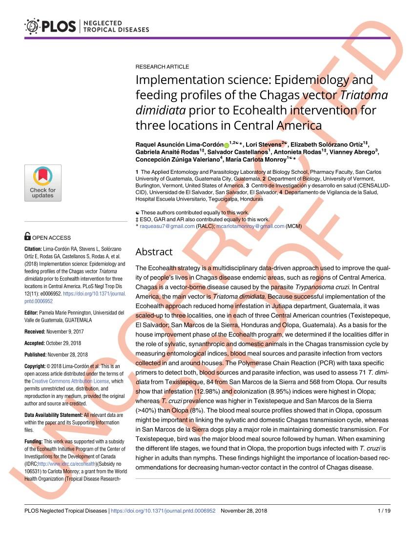 pdf ecological patterns of blood feeding by kissing bugs hemiptera reduviidae triatominae